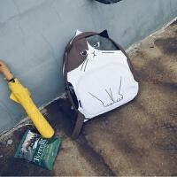 创意韩国猫咪休闲书包印花个性动物女软妹背包学院旅行帆布双肩包 棕色