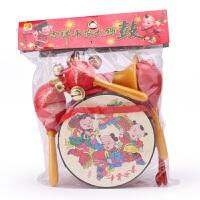 儿童玩具中国红摇铃腰鼓手拍鼓双面鼓幼儿打鼓乐器地摊货源批发