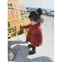 允儿妈女童加厚呢子大衣2017冬季装韩版新款小女孩中长款毛呢外套