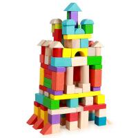 原单正品 木制150粒大粒彩色桶装积木玩具1-2周岁 儿童益智玩具