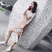七格格 吊带连衣裙PU皮裙chic女春装2018新款韩版宽松背心小清新短裙直筒