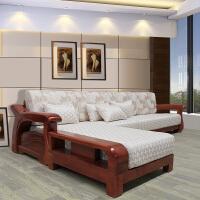 新中式实木沙发客厅海棠木沙发茶几组合贵妃L型转角全实木家具