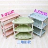 厨房家用小型塑料置物架多层 架子收纳厨房多层功能置物塑料家用简易小型迷你桌面小号家庭桌上 粉色 三角形款