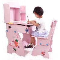 儿童草莓学习写字书桌幼儿园课桌小学生可升降桌椅组合 sg-8001
