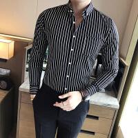 英伦青年男士修身条纹长袖衬衫时尚韩版青年免烫衬衣发型师夜店装