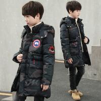 冬季韩版潮童装儿童保暖迷彩男童棉衣外套中长款冬装款