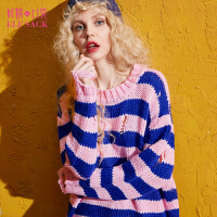 妖精的口袋第十八感秋冬装新款圆领宽松撞色条纹破洞毛衣女