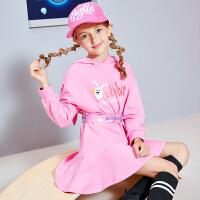 【2件3折价:79】小猪班纳女童长袖连衣裙中大童卡通长裙运动风