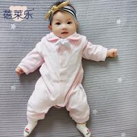 婴儿衣服0岁3月6宝宝哈衣爬服秋冬9新生儿连体衣春秋装新年