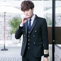 新款英伦青年肩章海军服男士修身双排扣西服马甲西裤三件套装制服