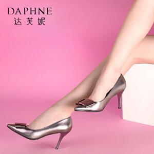 Daphne/达芙妮 蝴蝶结细高跟浅口女单鞋