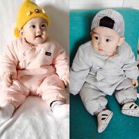婴儿连体衣加绒加厚秋冬装男女宝宝哈衣外出新生儿衣服冬季棉衣