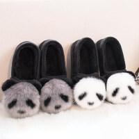 新款女生保暖毛毛绒拖鞋 家居家用室内防滑情侣棉拖鞋 韩版可爱卡通熊猫鞋子女