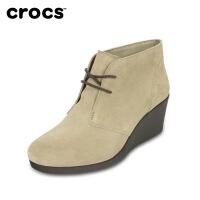 【节日钜惠】Crocs女鞋 卡骆驰时尚皮质纯色秋季蕾丽系带坡跟厚底靴|203419 蕾丽系带坡跟靴