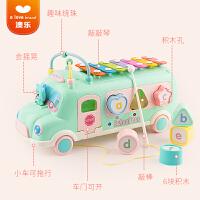 澳乐校巴拖拉车玩具婴儿学步车儿童拉绳手拉线宝宝0-3岁早教益智