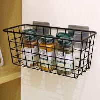 置物架 家居厨房收纳篮厕所置物架日用免打孔无痕吸壁式收纳架金属烤漆整理架卫浴用品