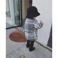 2直播宝宝气质呢子夹棉大衣外套上衣长款单排扣Polo领