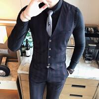 男士西装马甲套装职业装韩版修身英伦马甲裤子两件套新郎伴郎礼服