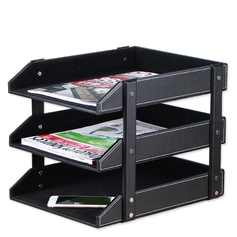 桌面收纳置物架 皮革三层文件盘多层资料架木质整理盘架 大气有质感