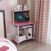 钢化玻璃小户型电脑台式桌家用经济型迷你可移动简易打印机一体桌 0.8米粉色-有顶层【脚座款】 超白玻