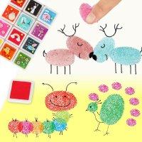 创意印章伴侣 12色/24色套装彩色DIY可爱儿童手指画 彩色印泥印台 (送指导册)利用简单的基本图形,组成丰富,有趣