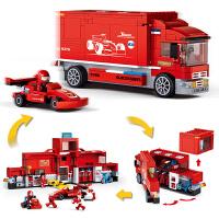 【满200减100】小鲁班F1方程式赛车系列儿童益智拼装积木玩具 新F1赛车竞赛巡回卡车M38-B0375