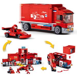 【当当自营】小鲁班F1方程式赛车系列儿童益智拼装积木玩具 新F1赛车竞赛巡回卡车M38-B0375