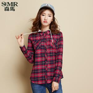 森马长袖衬衫女春秋装可脱卸帽格子天丝法兰绒直筒衬衣韩版 潮