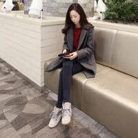 纤纯伊韩版女中长款简约西装加棉长大衣羊绒昵子厚外套