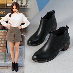 ZHR冬季清仓切尔西靴粗跟短靴女学生英伦风靴子中跟及裸靴W27