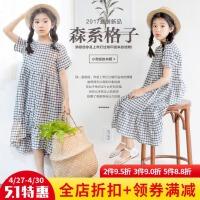2017新款女童夏�b�B衣裙女孩�n版�和��棉格子�L裙子中大童公主裙