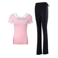 瑜伽服套装女2018新款初学者显瘦修身运动莫代尔大气健身服装 粉红色 短袖+黑色长裤