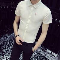 男士短袖衬衫男韩版修身青少年男人衬衣新款2018潮流帅气白寸衫潮