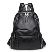 双肩包女新款韩版百搭软皮包包女时尚大容量多功能旅行背包潮 黑色大号 收藏加购*品