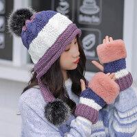 韩版女士百搭保暖毛线帽子 新款帽子女加厚针织帽 学生户外防寒帽潮子女