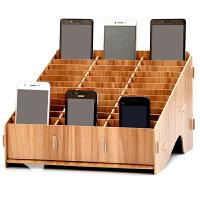 木质手机管理收纳盒桌面多格手机管理盒会议教室 创意手机整理架