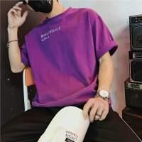 情侣装夏季新款个性字母刺绣T恤男短袖韩版宽松小清新五分袖学生