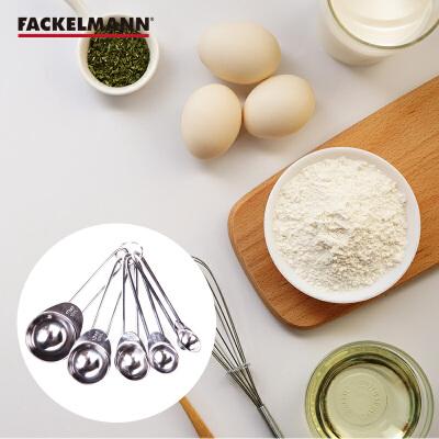 法克曼不锈钢量勺五件套烘培用量勺烘培工具带刻度量勺 刻度勺 小勺 计量调味工具5只装FKMA018