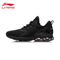 李宁跑步鞋女鞋减震耐磨防滑支撑半掌气垫女士冬季黑色运动鞋