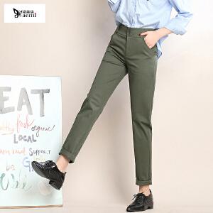 小脚休闲裤女秋季韩版棉修身铅笔长裤子女时尚女装休闲长裤