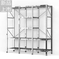 简易布衣柜钢管钢架加固加厚加粗不锈钢衣柜组装双人收纳定制
