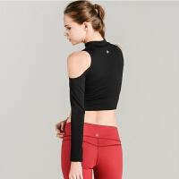 新款高领瑜伽服露肩瑜伽服性感小香肩瑜伽健身瑜伽上衣长袖女 C021高领露肩 S