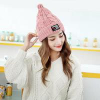 毛线帽子女韩版潮时尚百搭护耳加厚保暖帽针织纯色学生尖尖帽