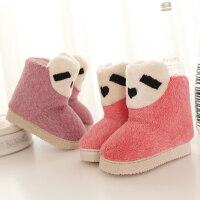 儿童棉拖鞋厚底毛绒保暖包跟男女宝宝卡通居家室内加绒棉鞋