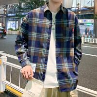 男装0 港风格子衬衫男长袖休闲衬衣青年帅气寸衫衬衫男