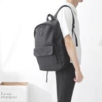 时尚潮流学生书包女韩版双肩包男商务旅行背包英伦百搭电脑包休闲 黑色