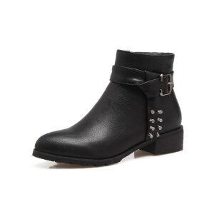 ELEISE美国艾蕾莎新品秋冬133-7435韩版超纤皮平跟女士马丁靴短靴