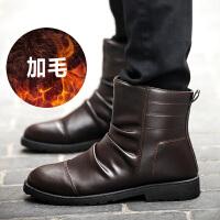 机车靴潮男英伦高帮鞋短靴黑色休闲鞋户外靴冬季套筒圆头平跟韩版沙漠靴男马丁靴保暖加绒男靴