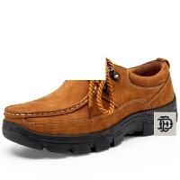 男士户外徒步鞋方头男系带休闲越野中年透气厚底防滑耐磨鞋登山鞋休闲皮鞋潮