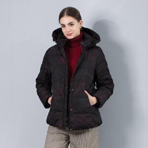 坦博尔羽绒服中老年女短款妈妈款时尚休闲可脱卸帽保暖潮 TB17582